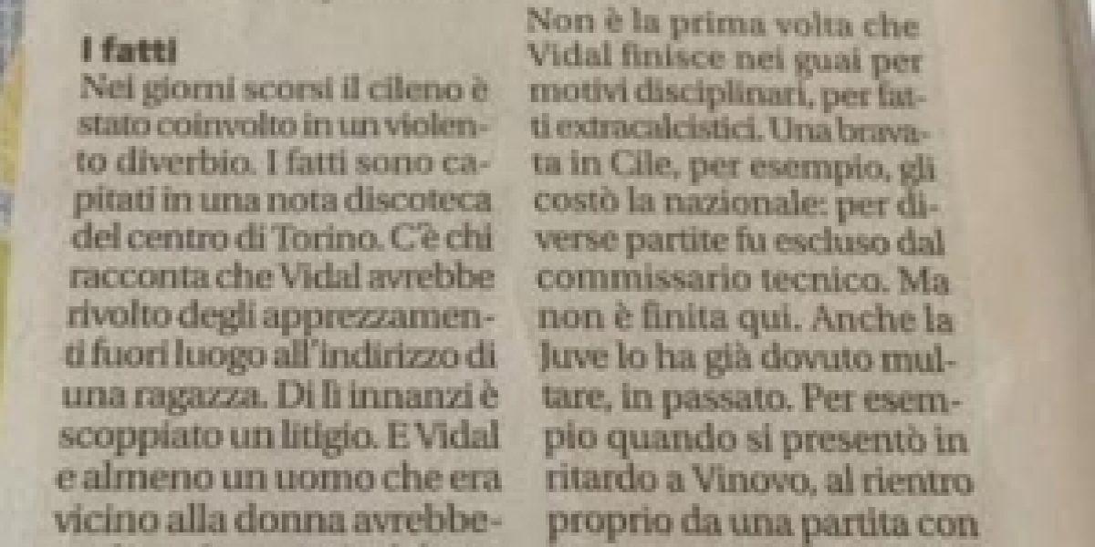 En Italia dan detalles de la pelea de Vidal en un local nocturno