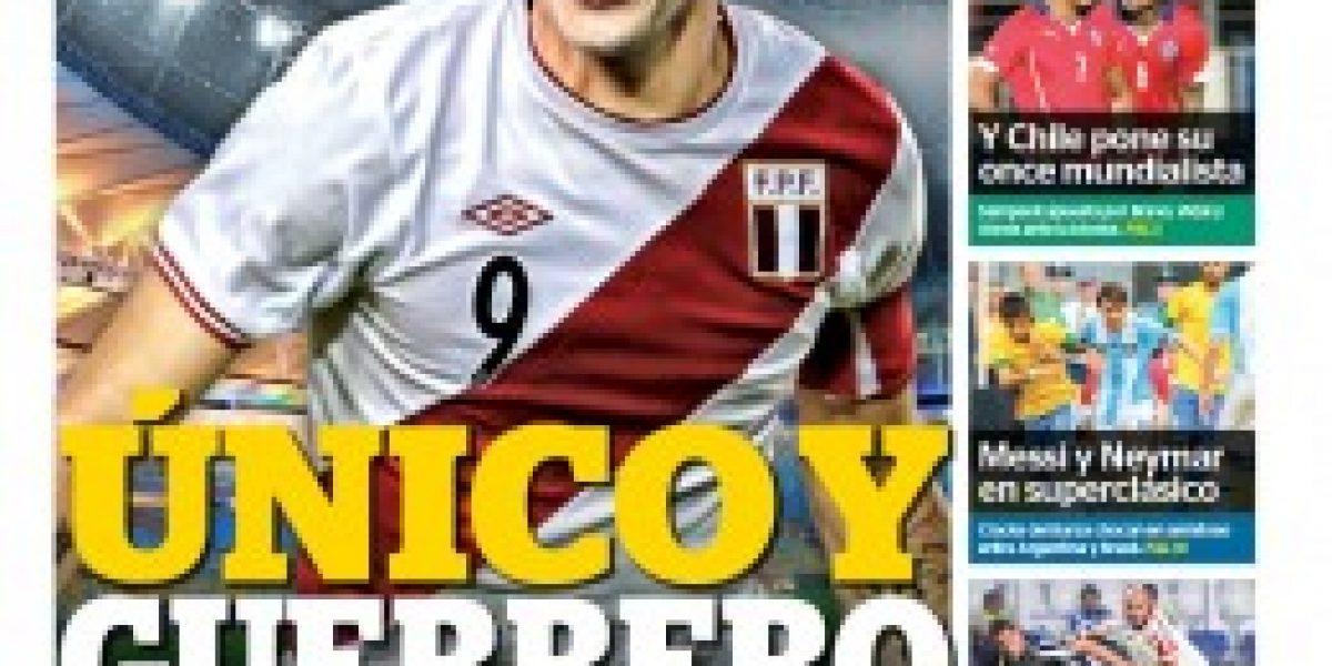 Total expectación: el partido de Chile-Perú se toma las portadas incaicas