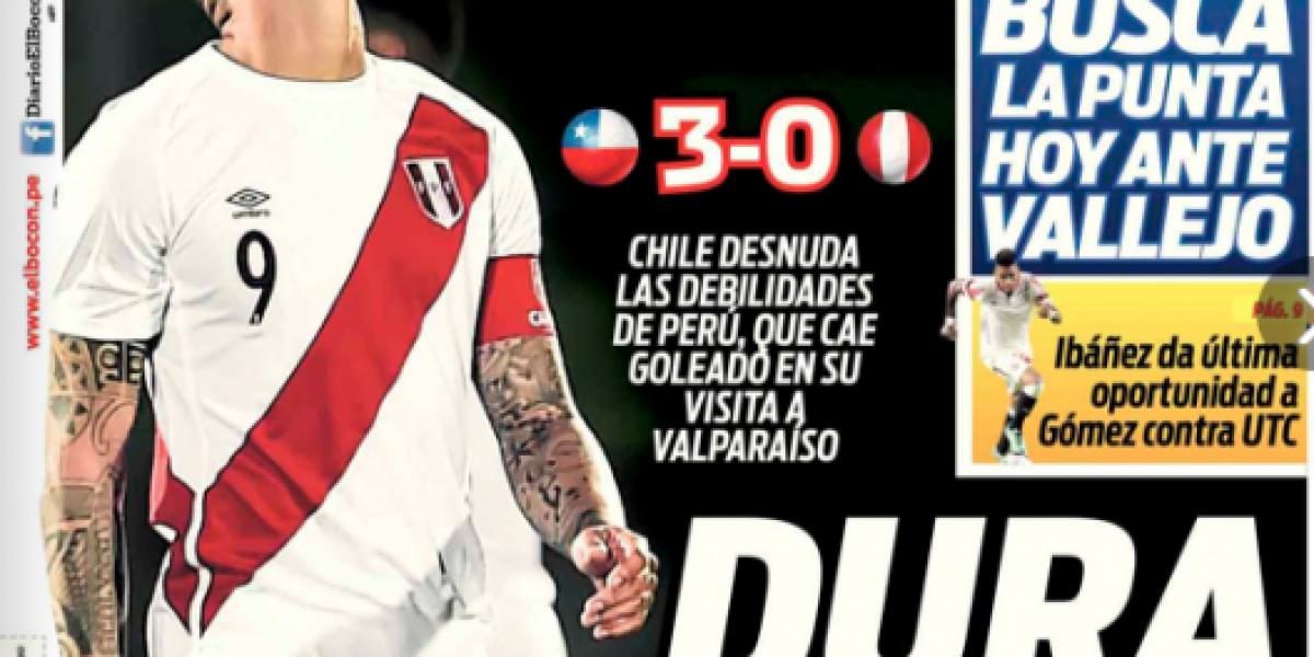 Prensa del Perú tras la derrota ante Chile: