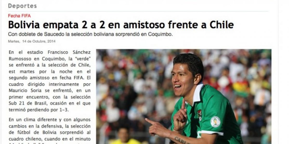 Prensa boliviana tras el empate ante Chile: