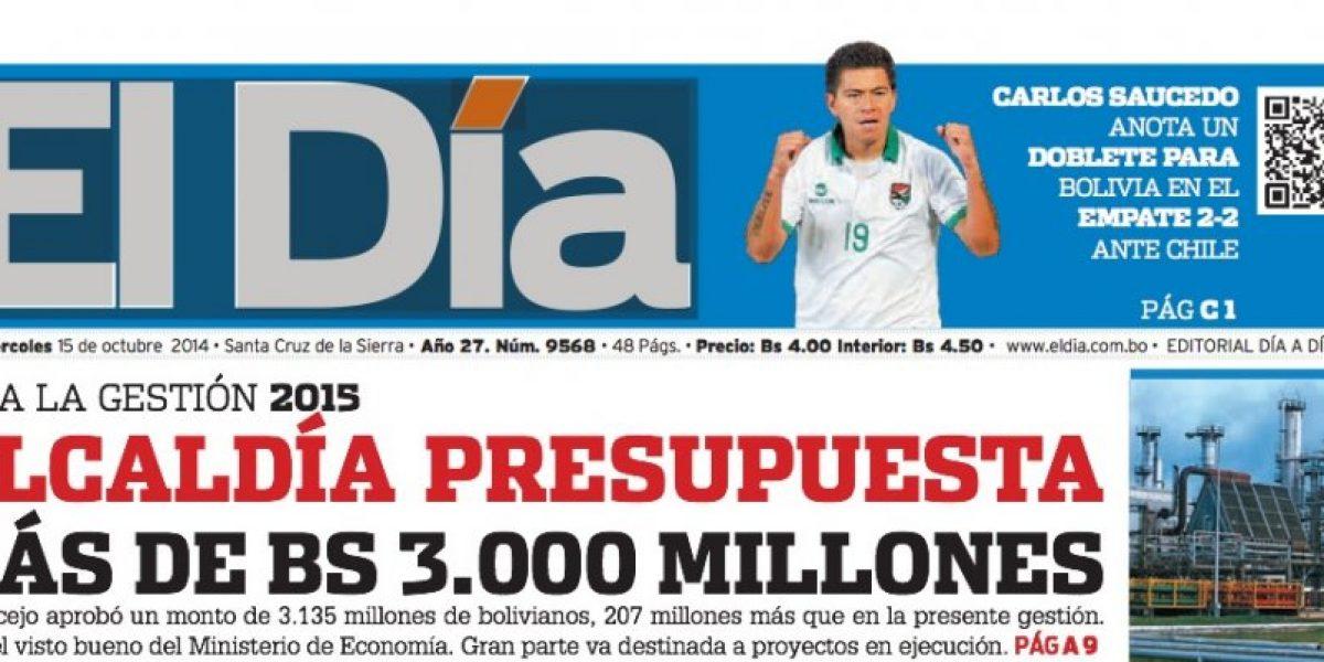 Portadas de diarios bolivianos:
