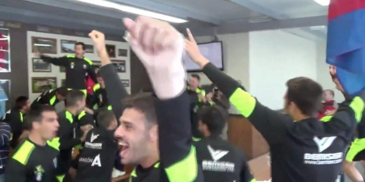Les tocó jugar con Barcelona y los jugadores del Huesca celebraron