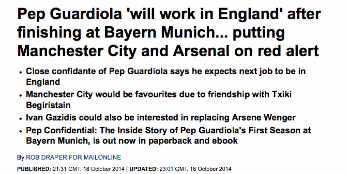 ¿Y Pellegrini? En Inglaterra explican por qué el City podría contratar a Guardiola