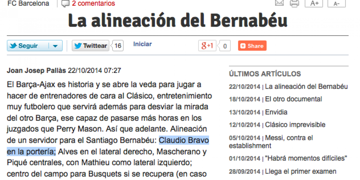 Hinchas y medios ibéricos perfilan a Bravo como titular en el derbi español