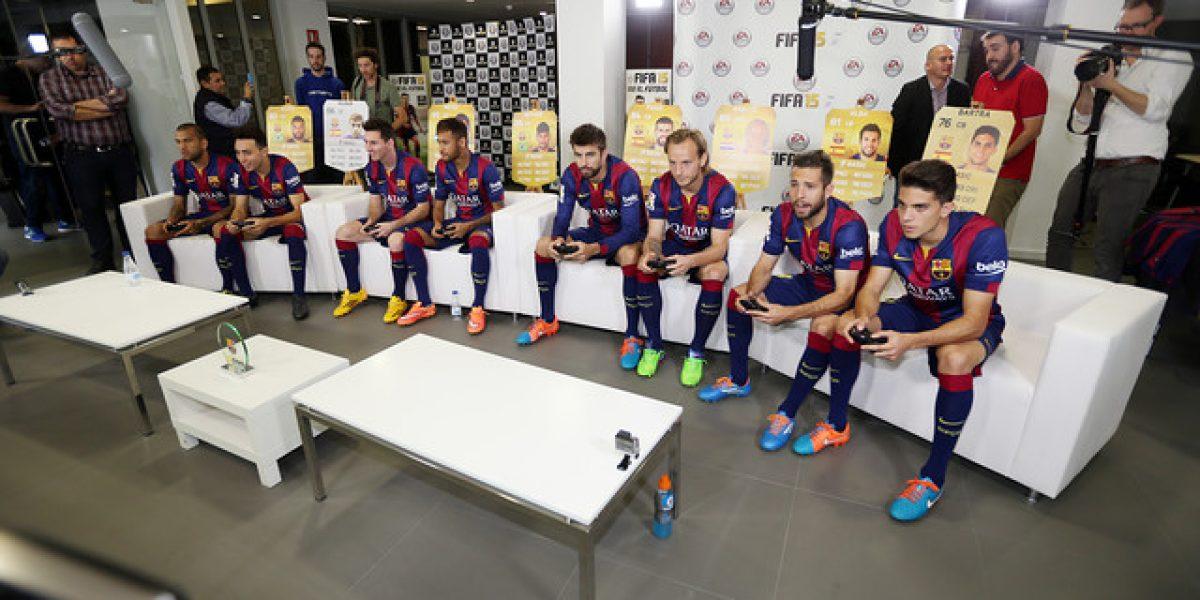Estrellas del Barcelona probaron el FIFA 15 con un inédito partido