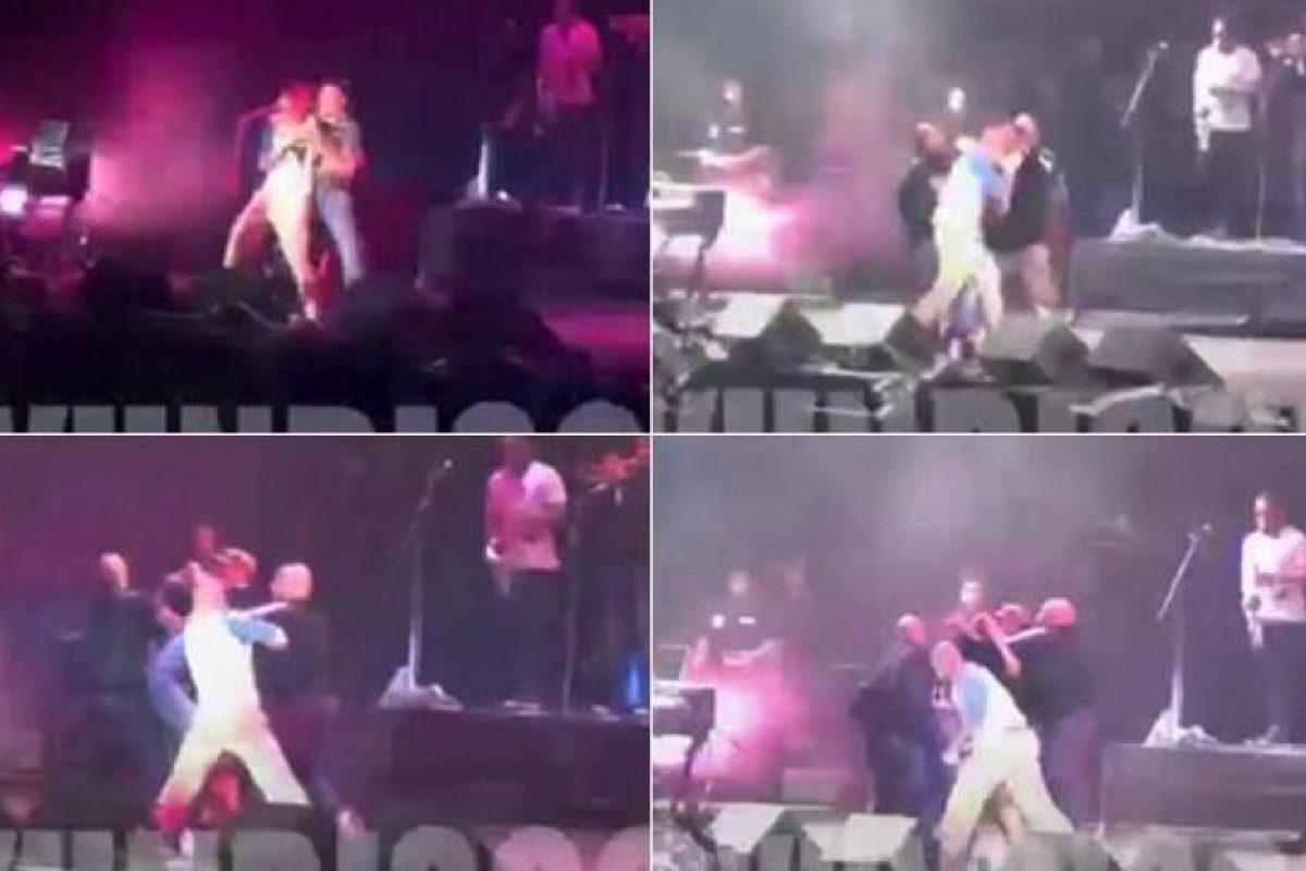 El vocalista de Calle 13 golpeó en el estomago a un fan que logró subir al escenario. Foto:Twitter. Imagen Por: