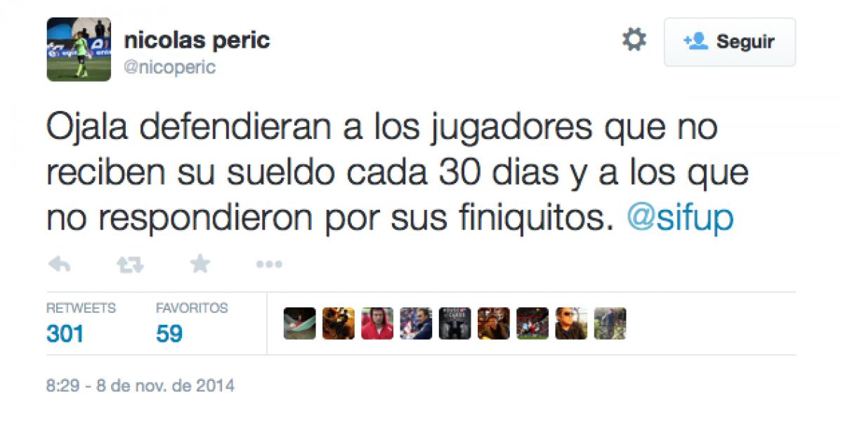 Portero Nicolás Peric se sumó a las críticas contra el Sifup