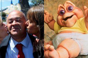 Diputado UDI Jorge Ulloa tiene un parecido al Bebé Sinclair, de la serie Dinosaurios. Foto:Agencia Uno / Reproducción. Imagen Por: