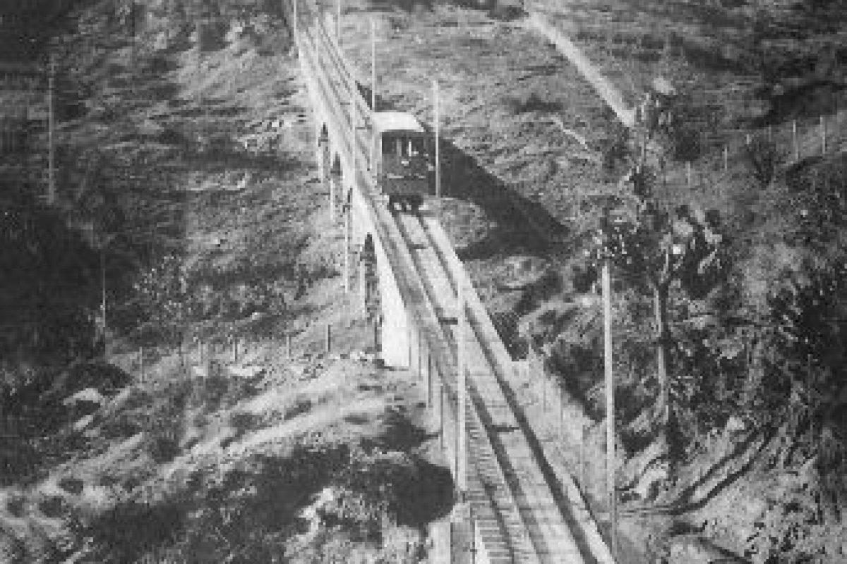 En 1924 comenzó la construcción del Funicular en el cerro San Cristóbal. Foto:Gentileza Fotos Históricas de Chile. Imagen Por: