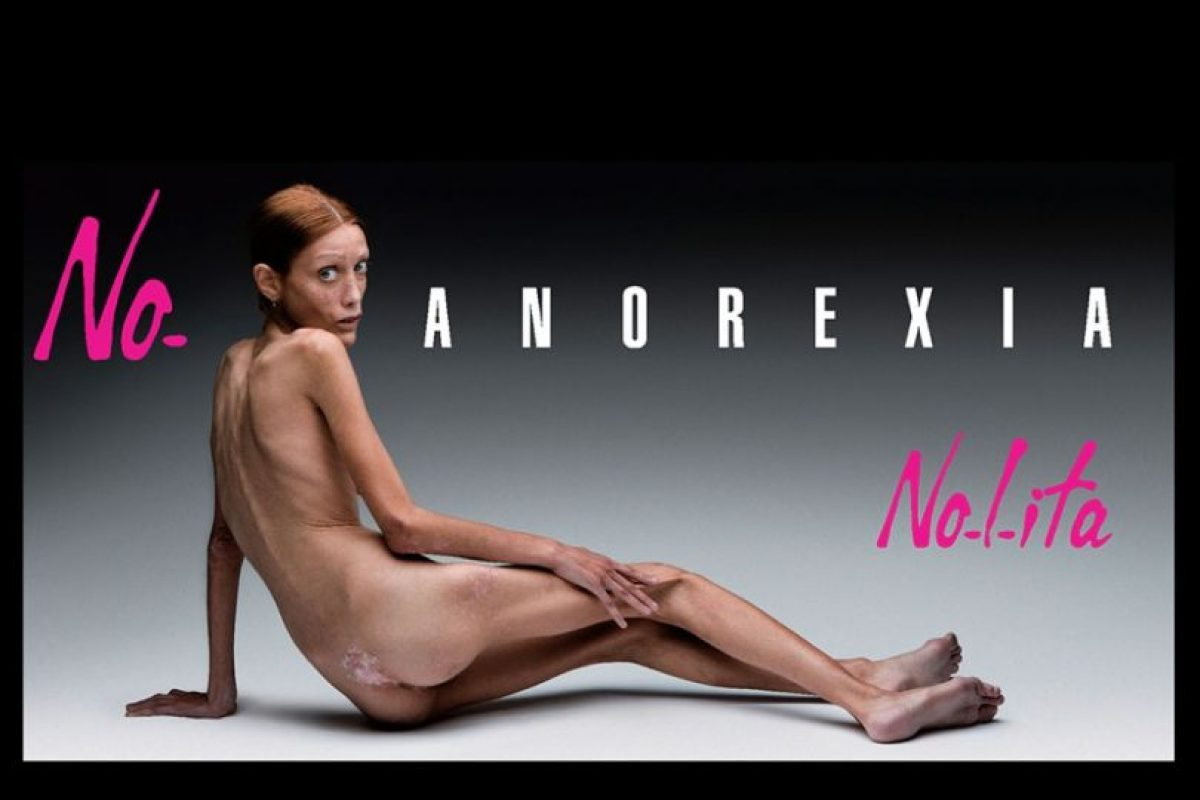 Esta campaña contra la anorexia protagonizada por la malograda Isabelle Caro fue criticada en 2007 Foto:No-Lita. Imagen Por: