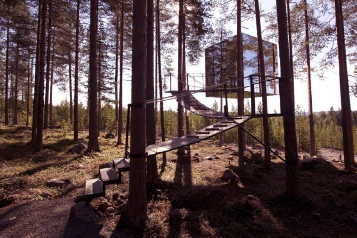 Treehotel, en Suecia. Dormirán en el bosque, con paredes transparentes que, por fuera son espejos que camuflajean la construcción. Foto:Flavorwire. Imagen Por:
