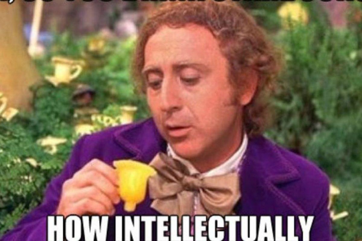 """""""Willy Wonka"""": 'Condescending Willy Wonka' es un meme basado en el popular personaje del libro de Roahl Dahl, y se burla de manera sutil pero contundente del problema de su interlocutor. Se popularizó en sitios como FunnyJunk y Tumblr Foto:4Chan. Imagen Por:"""