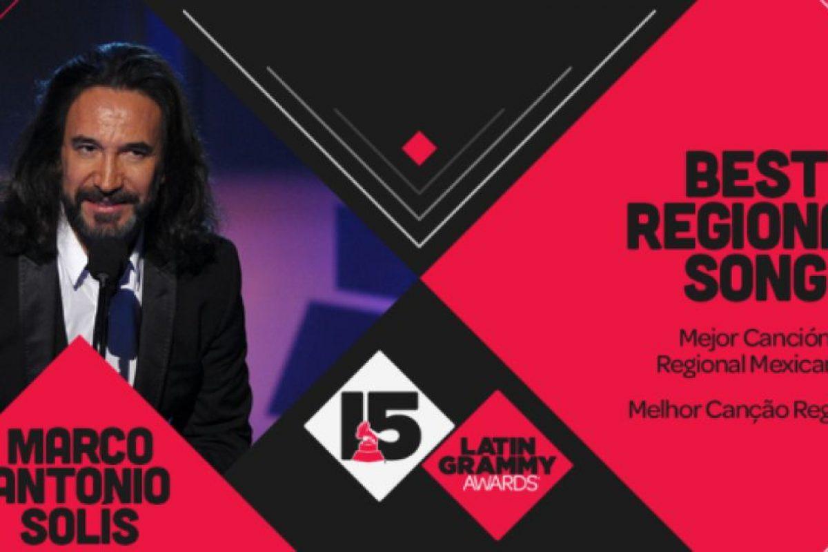 """Marco Antonio Solis ganó el Grammy a """"Mejor canción regional"""" con el tema """"De mil amores"""". Foto:Twitter/Latin Grammys. Imagen Por:"""