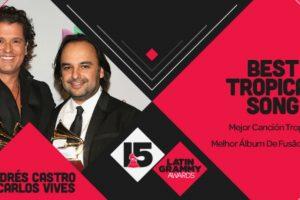 """Carlos Vives y Andrés Castro ganaron el premio a """"Mejor canción tropical"""" con el tema """"Cuando nos volvamos a encontrar"""" Foto:Twitter/Latin Grammys. Imagen Por:"""