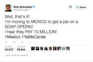 """El actor Rob Scheiner se burló de la Primera Dama mexicana y el escándalo en el que está envuelta. """"Me voy a México a hacer telenovelas, escuché que pagan 10 millones [de dólares]""""] Foto:Twitter @RobSchneider. Imagen Por:"""