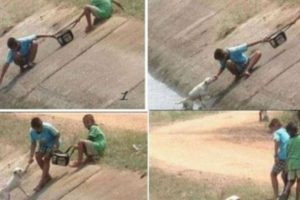 Así rescataron dos niños a un perrito de morir ahogado Foto:Tumblr. Imagen Por: