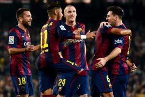 Messi y el Barcelona celebram el gol número 251 del argentino en la Liga española Foto:Getty Images. Imagen Por: