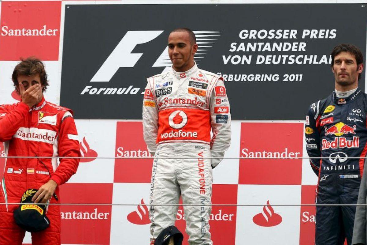 Compatiendo podio con Fernando Alonso y Mark Webber. Ese día fue el mejor de GP de Alemania 2011 Foto:Getty Images. Imagen Por: