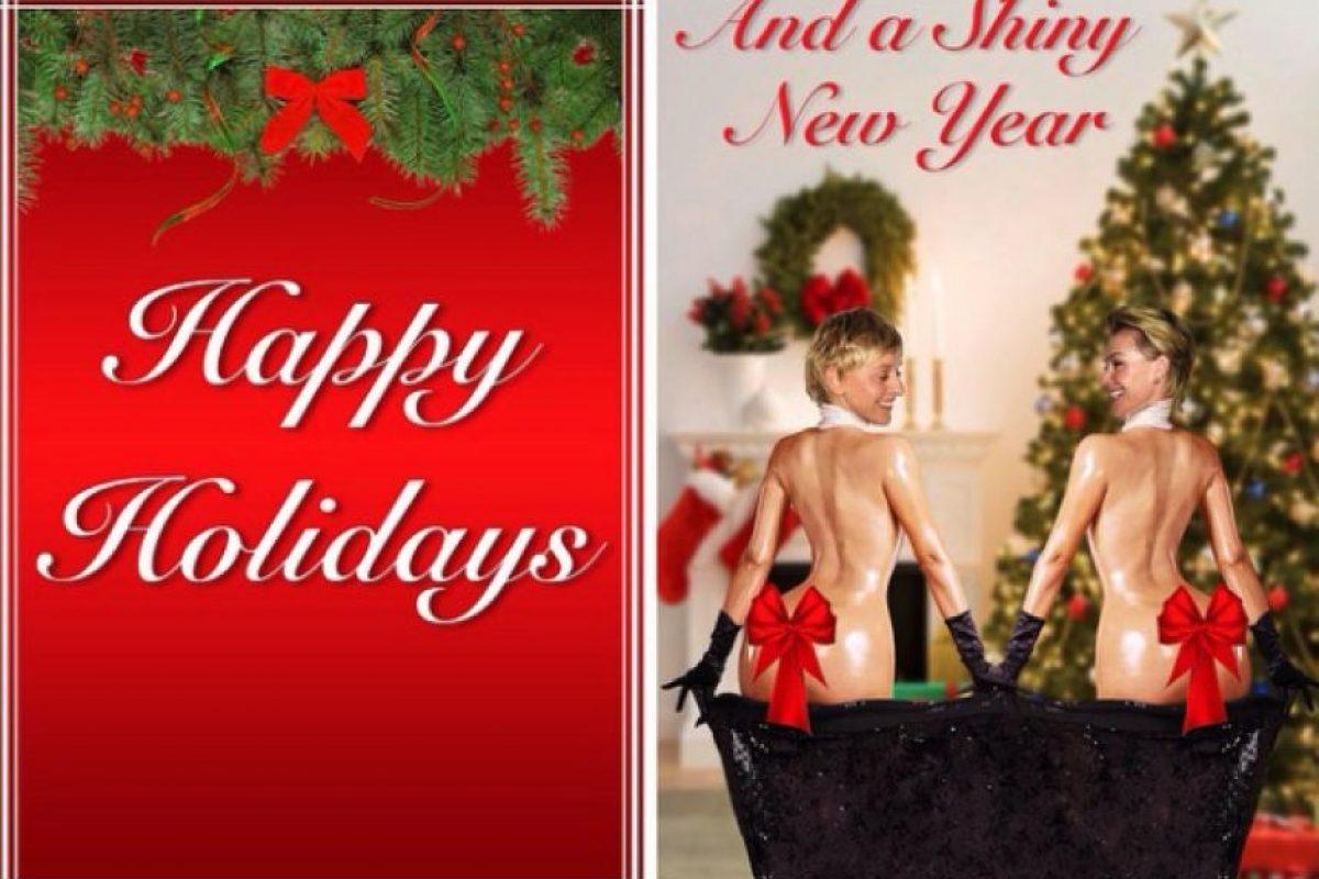 La conductora Ellen DeGeneres y su esposa imitaron a Kim para sus tarjetas navideñas de este año. Foto:Instagram/Ellen DeGeneres. Imagen Por: