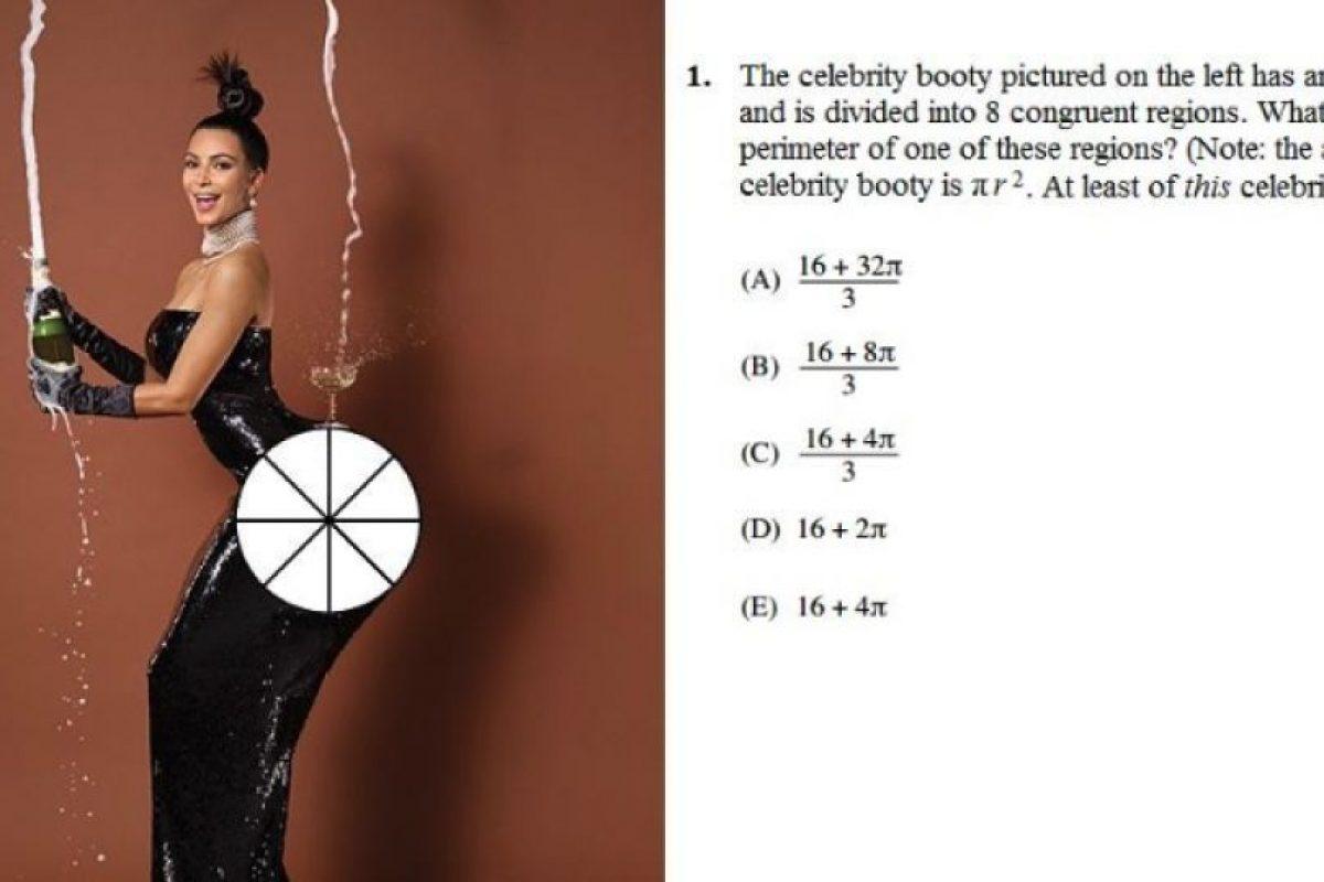 Si dividimos el trasero de Kim en ocho partes, ¿cuál es el área de cada zona? Foto:Twitter/CatalystPrep. Imagen Por: