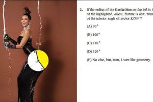 Pueden calcular el área del trasero de Kim Kardashian resaltada de color blanco dentro del círculo. Foto:Twitter/CatalystPrep. Imagen Por: