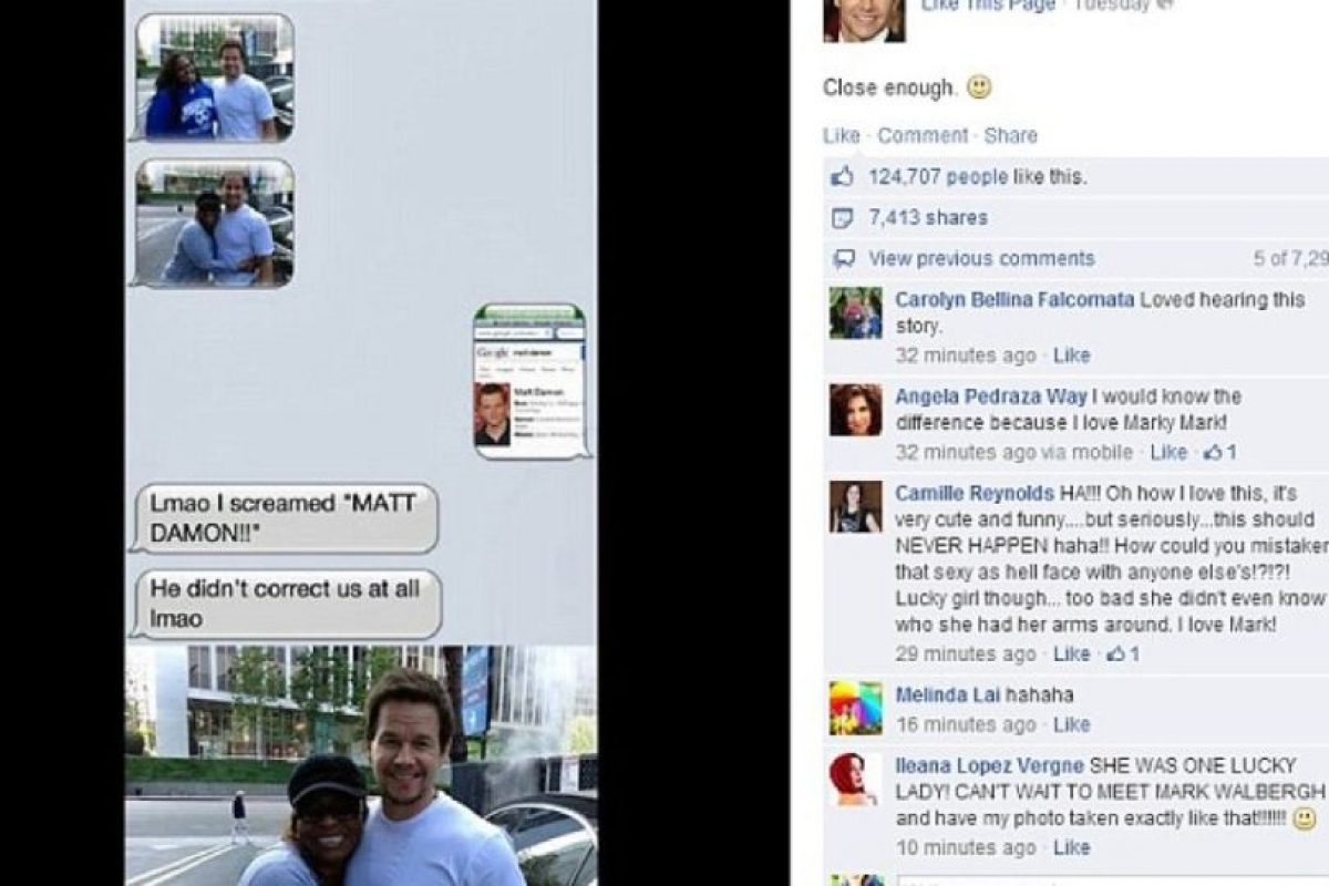 A Mark Wahlberg lo confundieron con Matt Damon. Él no corrigió a su fan y se divirtió con el incidente. Foto:Facebook. Imagen Por: