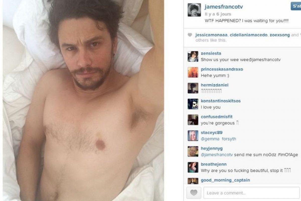 A pesar de las normas que prohiben este tipo de fotografías en Instagram, Franco sigue publicando selfies como esta. Foto:Instagram/James Franco. Imagen Por: