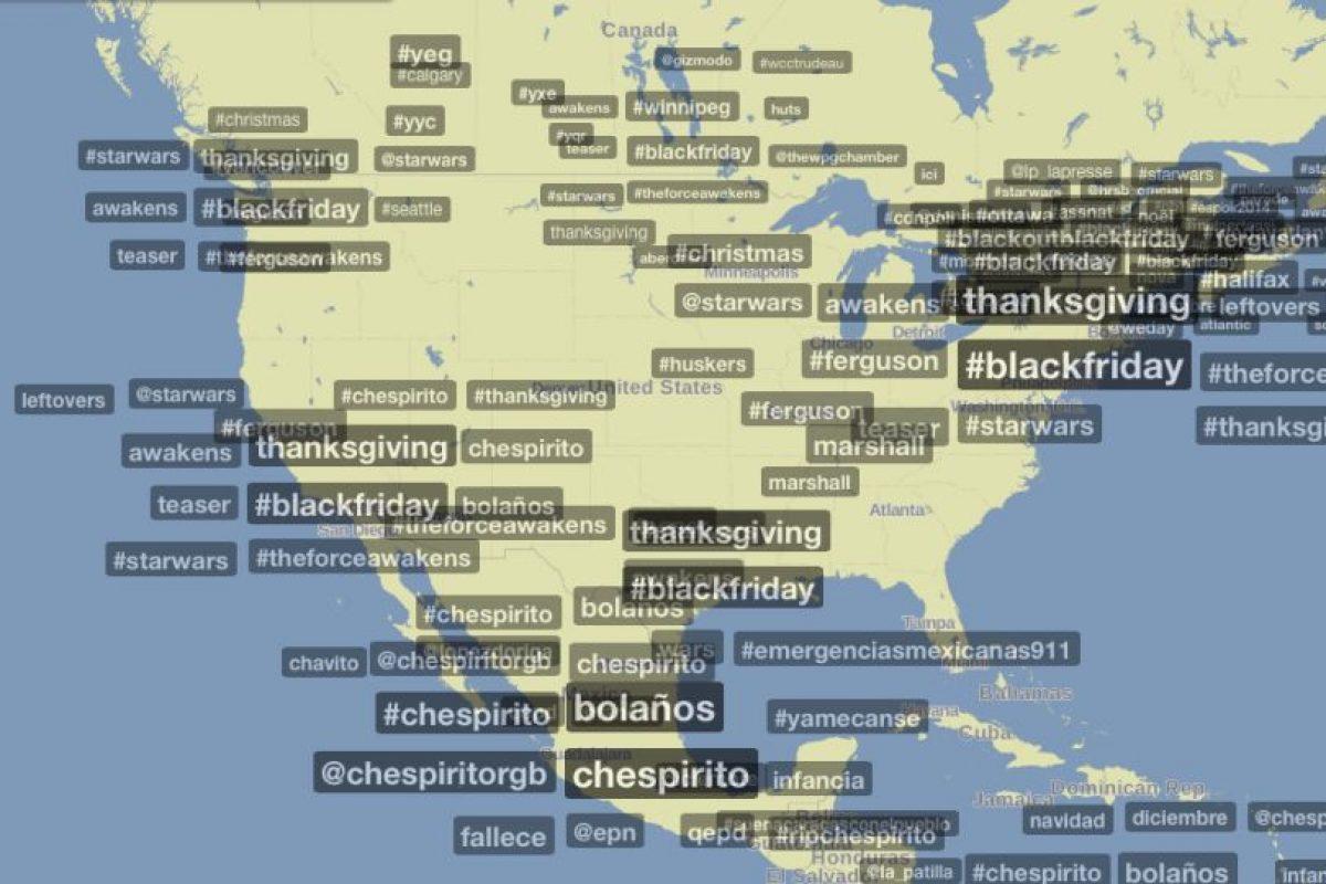 El hashtag #Chespirito ha causado el mismo impacto que las tendencias mundiales #blackfriday y #starwars Foto:Trendsmap.com. Imagen Por: