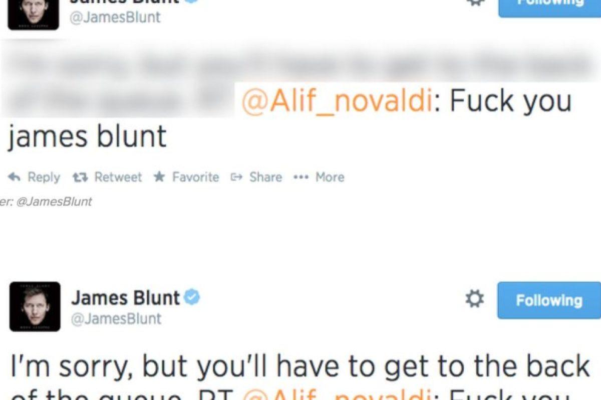 """Alguien le dice a James Blunt """"Jódete, James Blunt"""". Este responde: """"Lo siento, pero tienes que hacer fila"""" Foto:Twitter. Imagen Por:"""