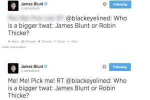 """Alguien dice: """"¿Quién es peor, James Blunt o Robin Thicke?"""". Este responde: """"Yo, ¡elígeme a mí, a mí!"""" Foto:Twitter. Imagen Por:"""