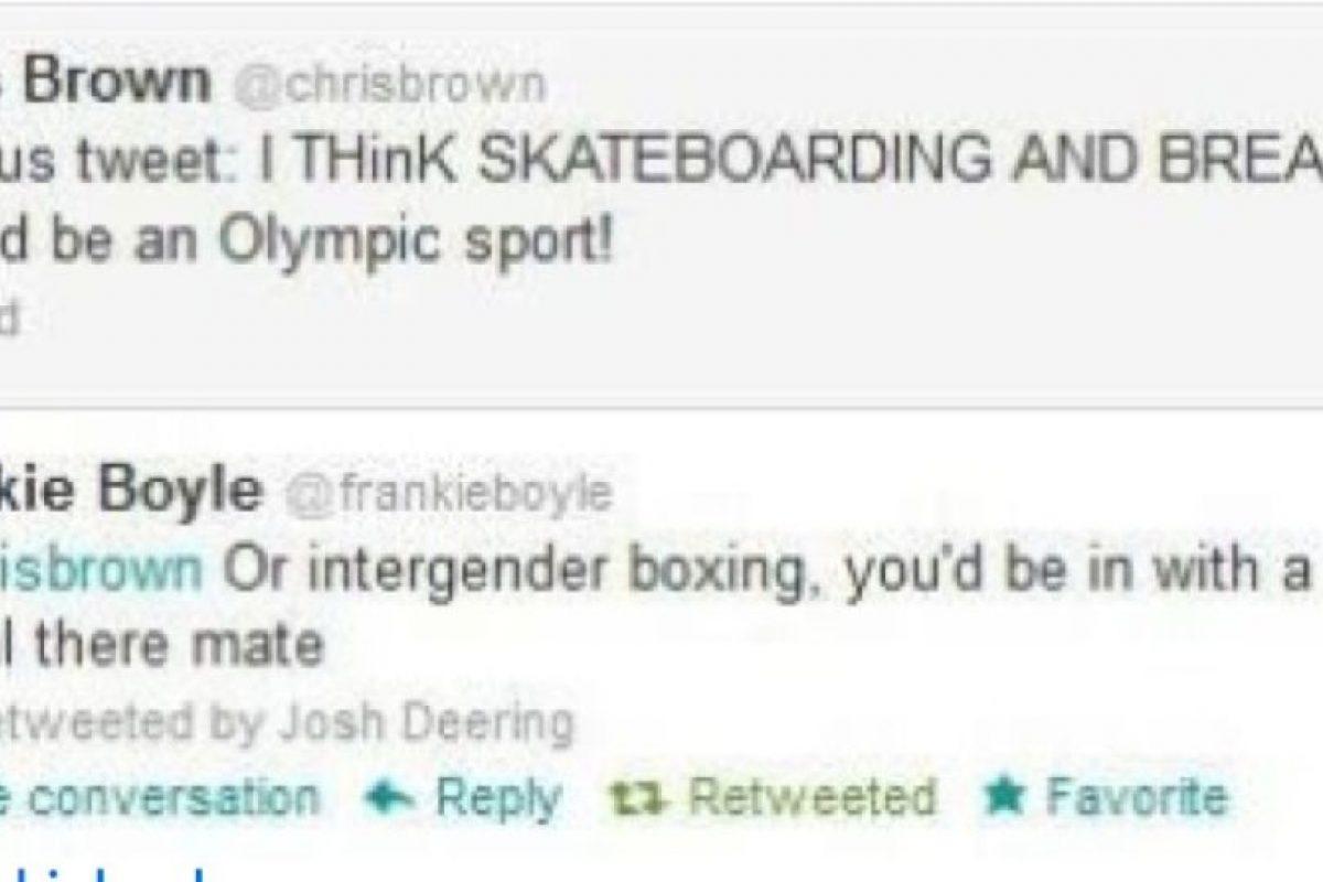 """Chris Brown dice: """"Creo que el skateboarding debería ser considerado deporte olímpico"""". Alguien le responde: """"Lo mismo que golpear a mujeres, en tu caso"""" Foto:Twitter. Imagen Por:"""