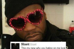 """50 Cent mostrando, con sus gafas de corazón, """"todo su odio"""" Foto:Twitter. Imagen Por:"""