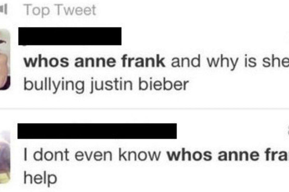 Ana Frank revivió de la Segunda Guerra Mundial para molestar a Justin Bieber. Foto:Twitter. Imagen Por: