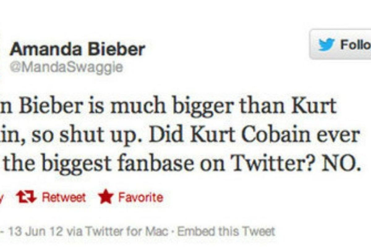 Kurt Cobain, inferior a Justin. Sacrilegio final. Foto:Tumblr. Imagen Por: