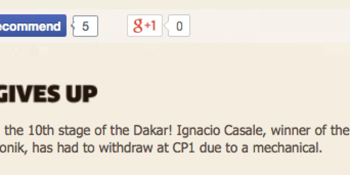 Malas noticias: Casale abandona el Dakar por problemas mecánicos