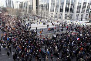 También en Bélgica se desarrollaron algunas marchas. Foto:AP. Imagen Por: