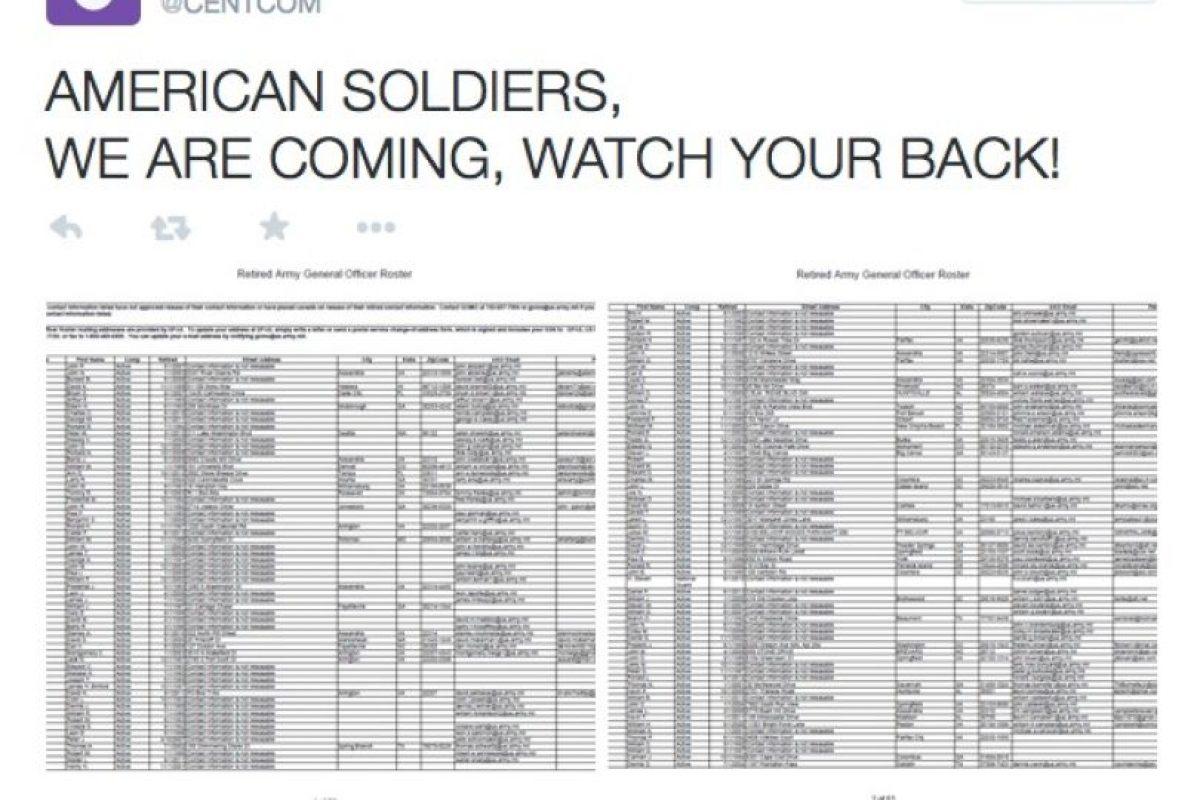 """""""Soldados estadounidenses, hemos llegado. Cuiden su espalda"""" Foto:Twitter. Imagen Por:"""