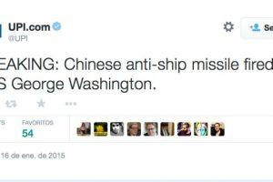 Último momento: Misil chino antibuques disparado en contra del USS George Washington Foto:Twitter. Imagen Por: