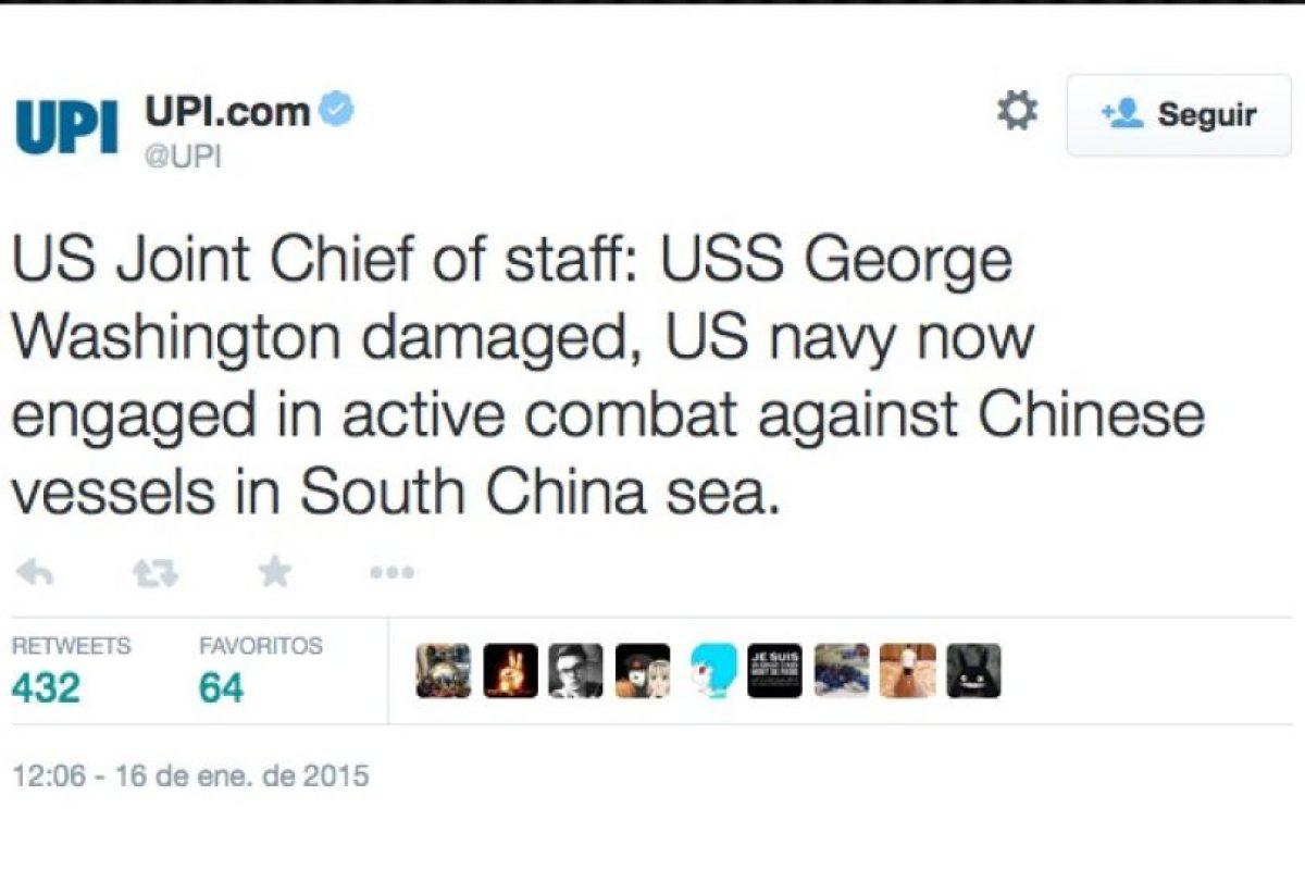 """Estado mayor: """"El USS George Washington se encuentra dañado. La Marina Estadounidense se encuentra en combate activo en contra de los buques chinos en el mar de China Meridional"""" Foto:Twitter. Imagen Por:"""