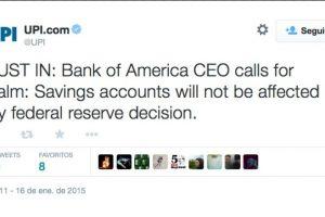 """Actualización: """"El CEO del Bank of América llama a la calma. Las cuentas de ahorro no se verán afectadas por decisión de la Reserva Federal"""". Foto:Twitter. Imagen Por:"""