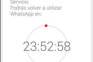 Así avisa WhatsApp que su cuenta ha sido suspendida temporalmente. Foto:Twitter. Imagen Por: