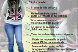 Antes estuvo condenada por hurto agravado. Estuvo en la cárcel. Tiene 28 años y 11 de vida delictiva. Foto:Policía Metropolitana de Bogotá. Imagen Por: