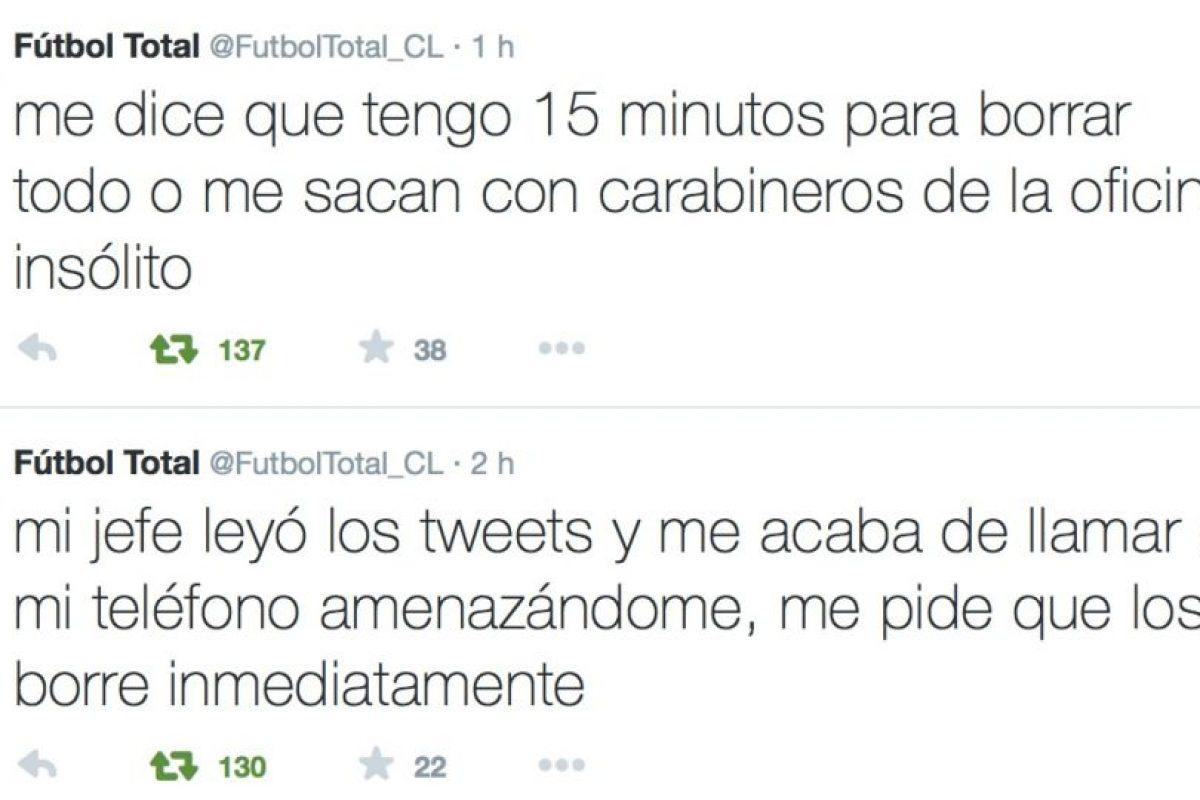 Su jefe lo amenazó y también le dijo que borrase los tweets o lo sacaría con ayuda de las autoridades de ese lugar. Foto:Twitter/FútbolTotal Chile. Imagen Por: