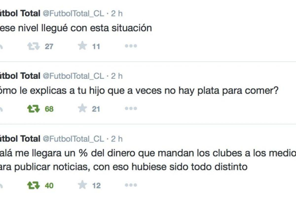Siguió denunciando sus condiciones de trabajo. Foto:Twitter/FútbolTotal Chile. Imagen Por: