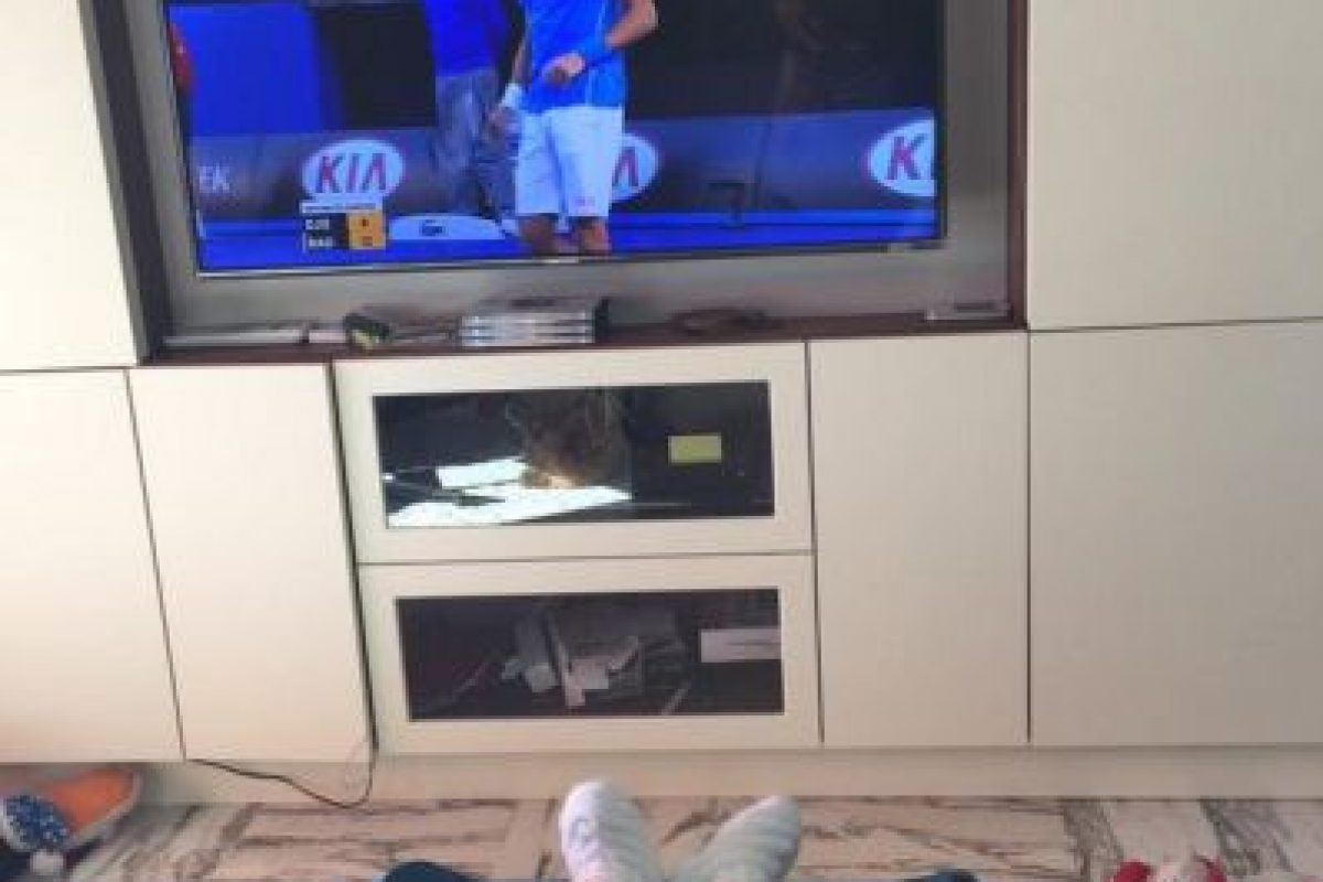 El hijo de Novak viendo el partido. Foto:twitter.com/JelenaRisticNDF. Imagen Por: