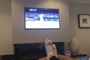 La esposa de Djokovic observando el encuentro. Foto:JelenaRisticNDF. Imagen Por:
