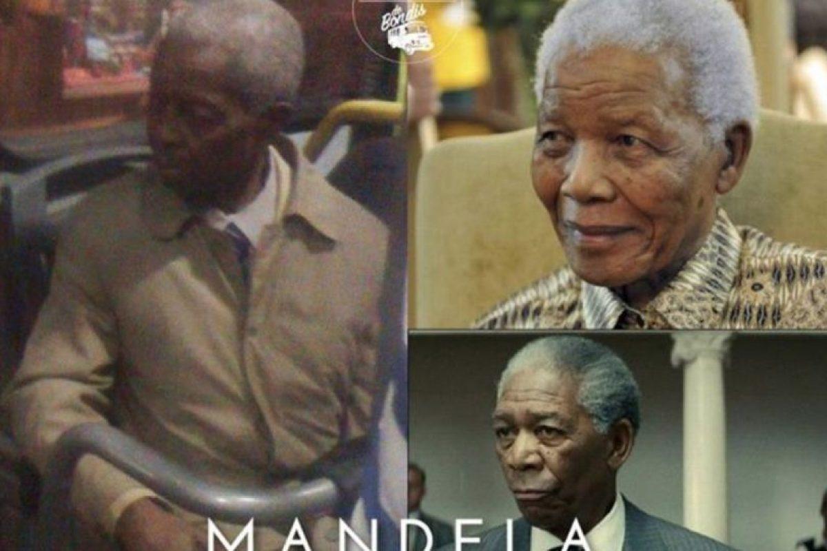 Mandela /Morgan Freeman Foto:Parecidos De Bondis/Facebook. Imagen Por: