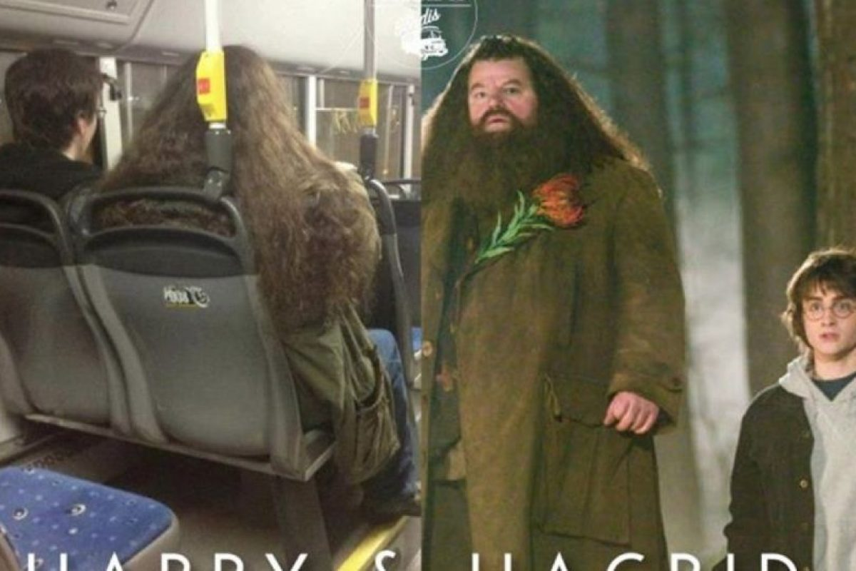 Harry Potter y Hagrid. Foto:Parecidos De Bondis/Facebook. Imagen Por: