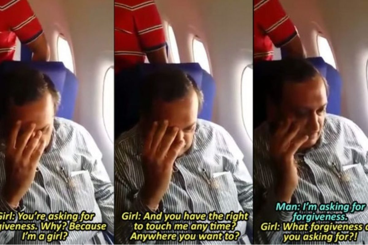 Pero esta no se quedó callada. Comenzó a humillarlo. Este solo pedía disculpas. Foto:Shreyas Rao/Youtube. Imagen Por: