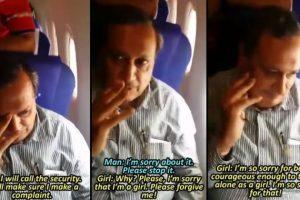 Shreyas Rao, pasajero de 31 años, captó el instante en que un rico empresario tocó de manera indebida a una mujer. Foto:Shreyas Rao/Youtube. Imagen Por: